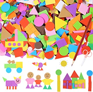Sntieecr 1000 Pieces Assorted Colors Foam Geometry Stickers Mini Self-Adhesive EVA Foam Stickers with a Drawing Pencil and Scissors for Children DIY Arts and Crafts (Circle, Square, Triangle)