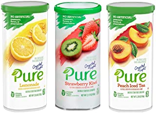 Crystal Light Pure Drink Mix - 3 Flavor Variety - Lemonade, Peach, and Strawberry Kiwi - 5 Count Pitcher Packs Per Container