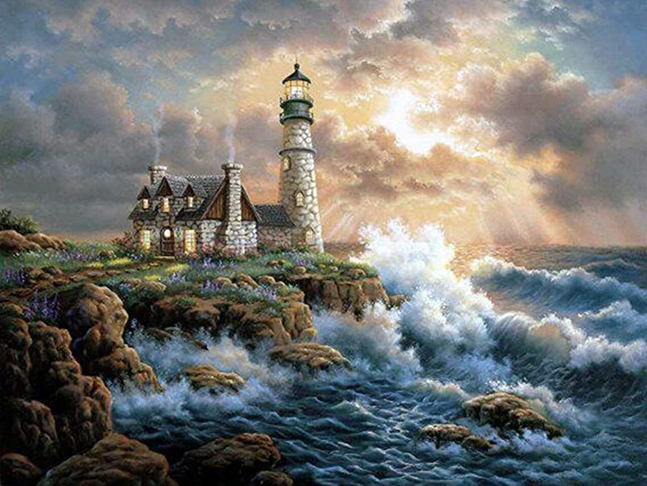 RICUVED DIY 5D Diamond Painting by Number Kit, Full Diamond Lighthouse Rhinestone Embroidery Cross Stitch Arts Craft for Canvas Wall Decor 12 x16inch