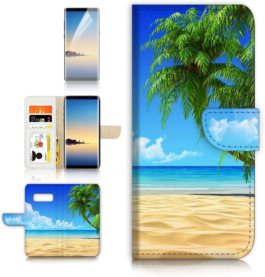 (for Samsung Galaxy S10e) Flip Wallet Case Cover & Screen Protector Bundle - A20101 Beach Sea Sky