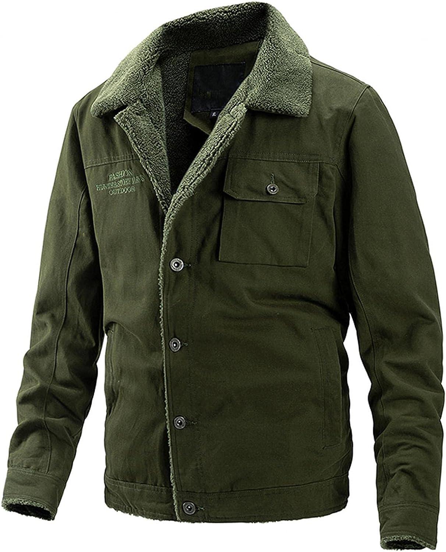 XUNFUN Winter Jackets for Men Warm Fuzzy Fleece Lined Button Down Lapel Long Sleeve Solid Sherpa Trucker Jacket Miliary Coat