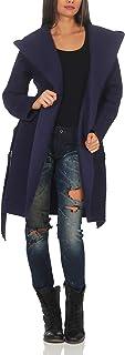 Malito Mujer Abrigo Boucle Lana Chaqueta Trenchcoat Vellón Cinturón 9320 (Azul Oscuro)