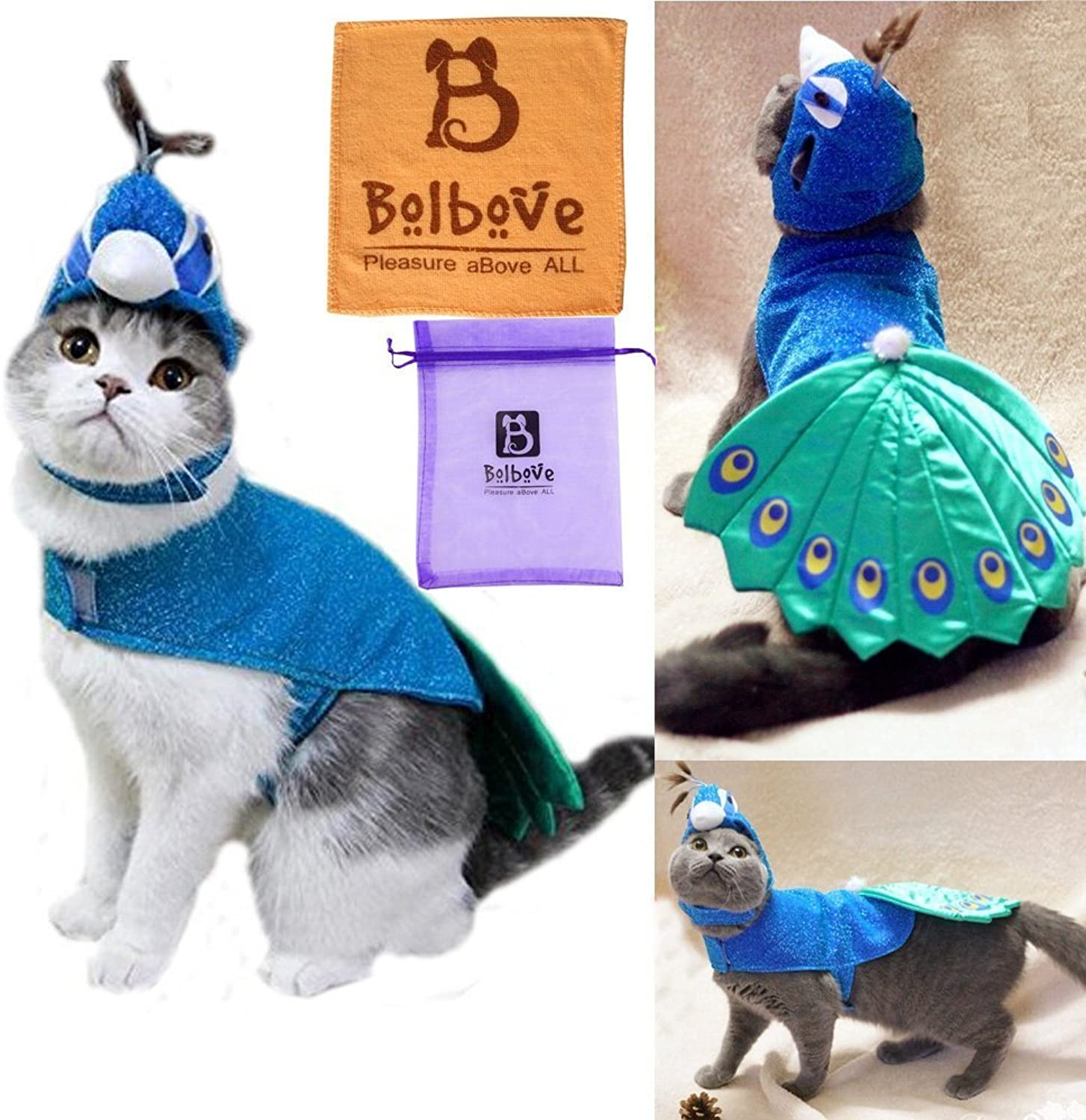 Bro'Bear Pet Peacock Costume with Hat for Small Dogs & Cats bluee