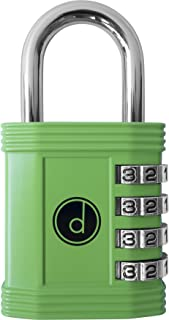 Padlock - 4 Digit Combination Lock for Gym, Sports, School & Employee Locker, Outdoor, Fence, Hasp and Storage - All Weather Metal & Steel - Easy to Set Your Own Keyless Resettable Combo - Green