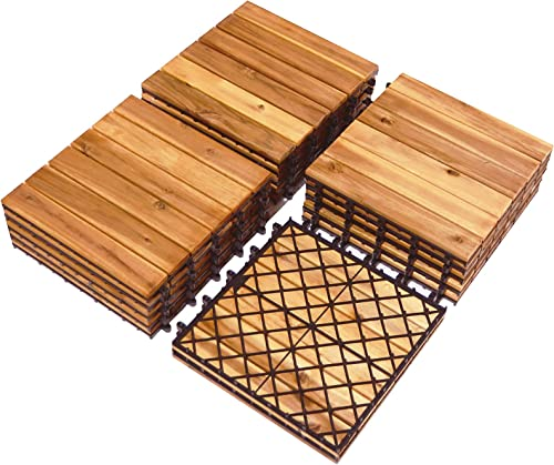 popular Giantex 27 PCS Interlocking Patio Deck new arrival Tiles, 12 x 12in Acacia Hardwood Floor Tiles, Tools Free Assembly, 27 sq. Ft Wood Composite Deck Flooring Pavers for Outdoor & wholesale Indoor, Stripe Pattern online