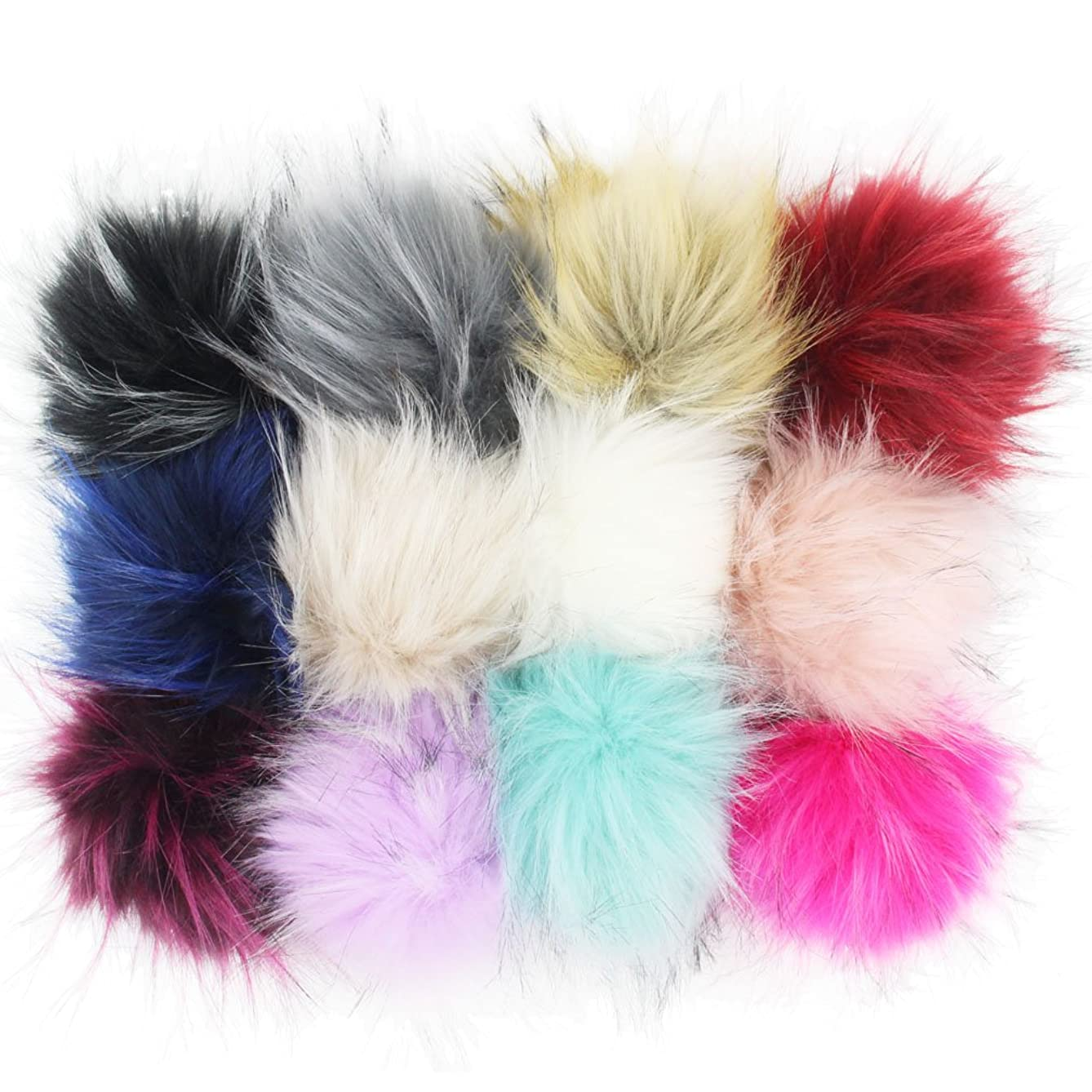 DIY 12pcs Faux Raccoon Fur 11cm Pom Pom Ball for Knitting Hat DIY Accessories (Mix Colors)