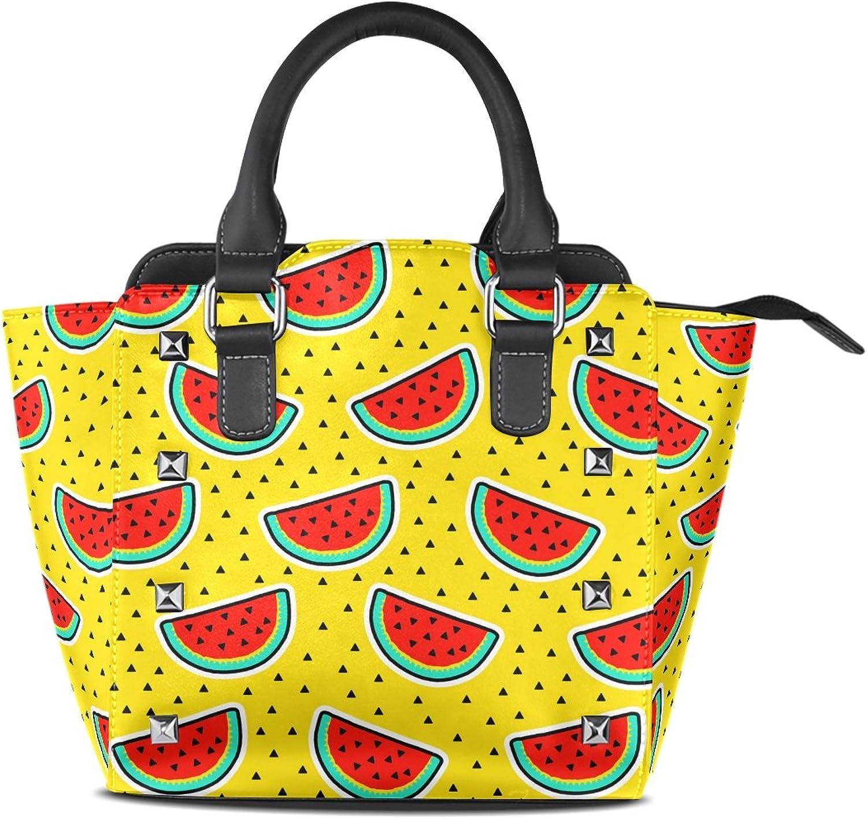 My Little Nest Women's Top Handle Satchel Handbag Watermelon Slices Bright Yellow Ladies PU Leather Shoulder Bag Crossbody Bag