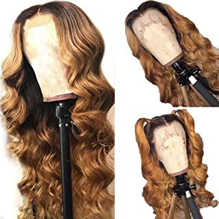 Fureya Ombre Honey Blond Color Glueless Lace Front Wigs Loose Curl Wigs Heat Resistant Synthetic Wedding Wedding Party Wigs 24 inch (1B/27#)