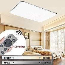 MYHOO 72W Moderno LED Regulable Ultraslim Lámpara De Techo Pasillo Salón Cocina Dormitorio De La Lámpara Ahorro De Energía De Luz De Plata [Clase de eficiencia energ ética A++] (72W Regulable)