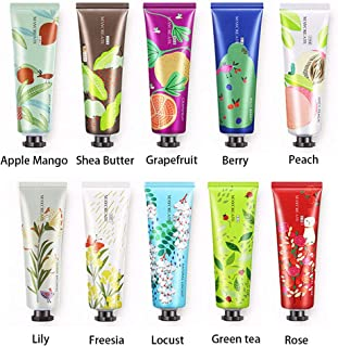 Ownest 10 Pack Fruits Extract Fragrance Hand Cream,Moisturizing Hand Care Cream Travel Gift Set with Shea Butter For Men And Women-30ml
