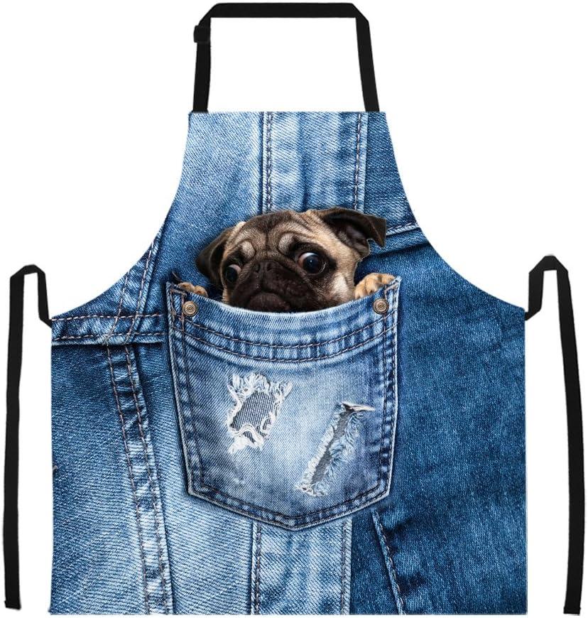 Summeridea Funny Pug Dog Adjustable Garden for Factory outlet [Alternative dealer] Apron Kitchen Coo