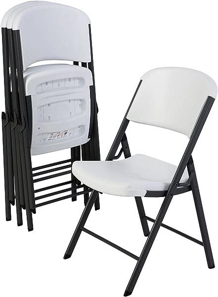 Lifetime 42804 Classic Commercial Grade Folding Chair White Granite 4 Pack