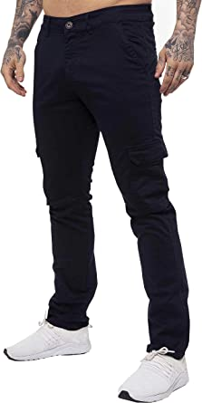 Enzo Jeans Mens Cargo Combat Trousers Chinos Slim Fit Cotton Stretch Work Pants