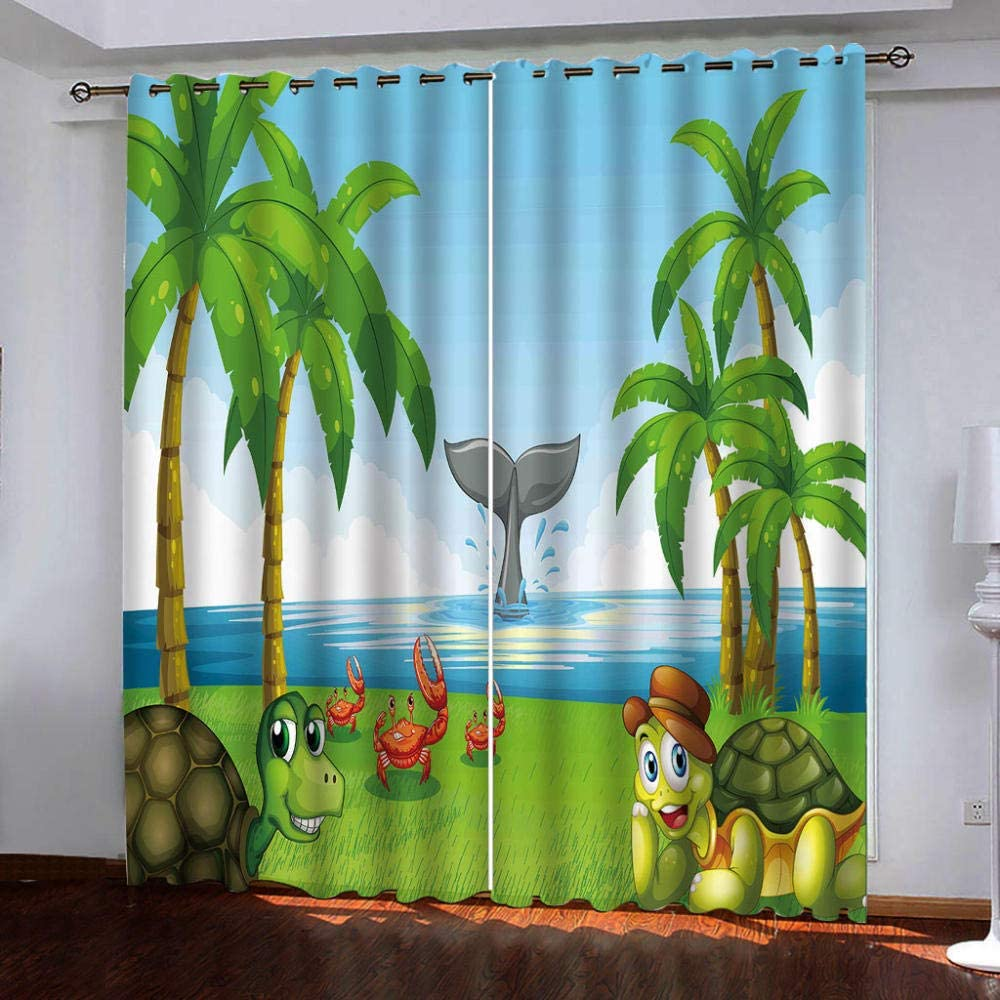 Soldering Thermal Insulated OFFer Grommet Animal Landscape Curtains,Cartoon