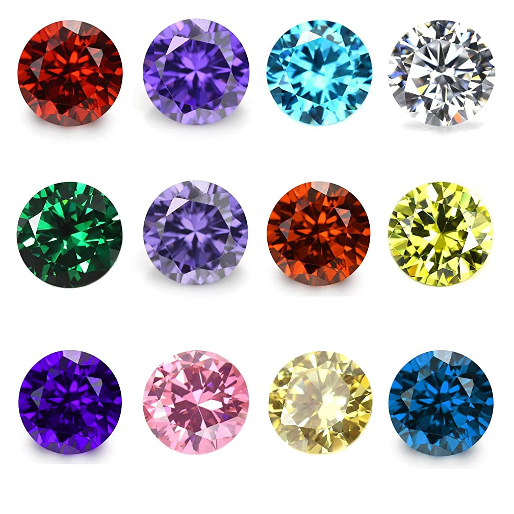 Wholesale 24PCS Crystal Glass Zircon Round 5MM Birthstones Floating Charms Bulk for Living Memory Locket Necklace