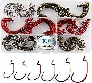 JSHANMEI Fishing Hooks Wide Gap Worm Hooks 2X Strong High Carbon Steel Senko Bait Soft Lure Jig Fish Hooks Fishing Tackle Box