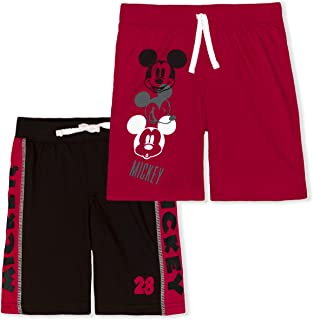 Disney Mickey Mouse 2 Pack Shorts Set for Boys, Toddler Kids Short Pants, Red and Black, Size 5T