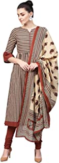 Jaipur Kurti Women's Pleated Salwar Suit Set (JKPAT3812-L_Beige_Large)