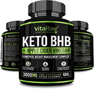 VitaRaw Keto Pills with Green Tea + Organic Apple Cider Vinegar Capsules [ Powerful 3000MG Diet Pills ] Exogenous Ketones ...