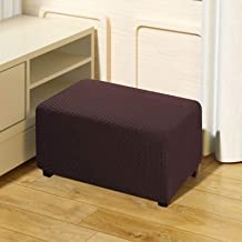 QUALITELL Ottoman Slipcover Stretch Footstool Cover Furniture Protector for Living Room - Brown, Small