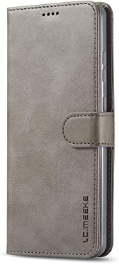 BeyeX Samsung Galaxy S7 Edge Flip Case Leather Cover Extra-Protective Business Wallet case Card Holders Kickstand Three Card Slot Button Business (Gray)