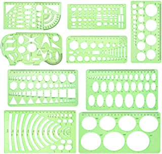 QISF 9 Pieces Geometric Drawings Templates Measuring Rulers Plastic Clear Green Draft Building Formwork Stencils Rulers for School Office Supplies, Building and Studying