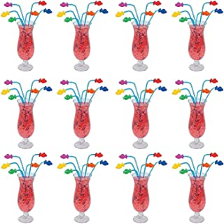 Kicko 12 Plastic Tropical Fish Straws 8 Inch, Assorted Colors - Reusable Bent Neon Smoothie Straws, Decorative Cocktail Drinking Straws, Parties