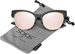 7aedefe588ce SOJOS Cateye Sunglasses for Women Fashion Mirrored Lens Metal Frame SJ1086