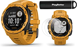 Garmin Instinct (Sunburst) Outdoor GPS Watch Power Bundle | with HD Screen Protector Film Pack & PlayBetter Portable Charger | Rugged, Waterproof | Heart Rate, TrackBack | Ultimate Outdoorsman Watch