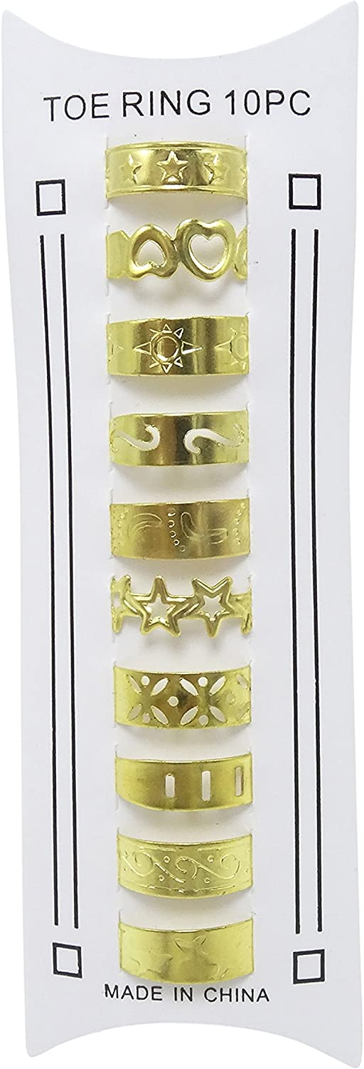 WTZ Set of 10 Assorted Gold Tone Metal Toe Rings