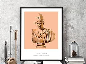 Athena | Portrait of Athena, Greek Mythology, Athena Bust Photo, Athena Bust Art Print, Modern Home Decor, Peach and White, Athena Art Print