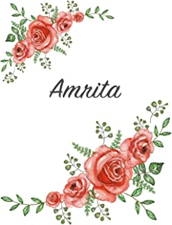 Amrita: Personalized Notebook with Flowers and First Name - Floral Cover (Red Rose Blooms). College Ruled (Narrow Lined) J...