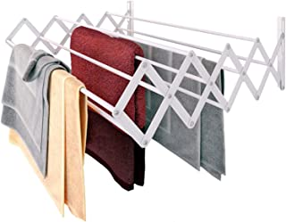 Home Intuition Folding Wall Mounted Laundry Rack for Drying Clothes, White