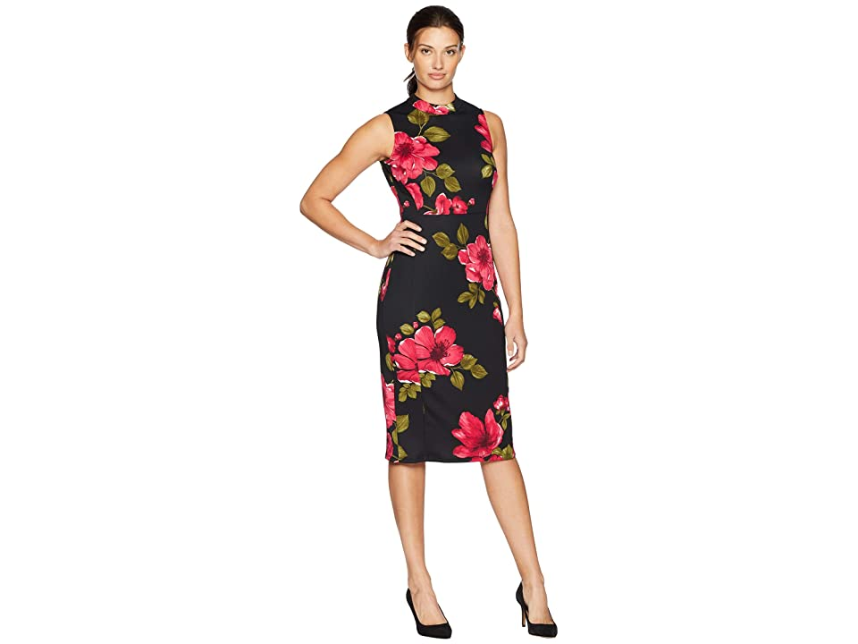 Nine West Scuba Mock Turtleneck Sheath Dress (Black/Crimson Multi) Women