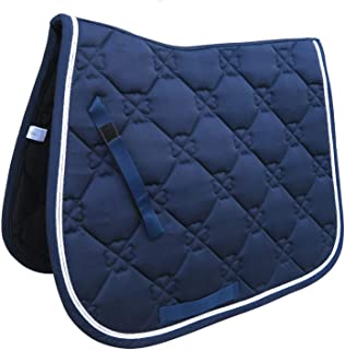 Horse Riding Showing Saddle Pad Cotton Quilted Breathable Sweat Absorbing Saddle Cloth Horse Riding Pad Machine Washable,Blue
