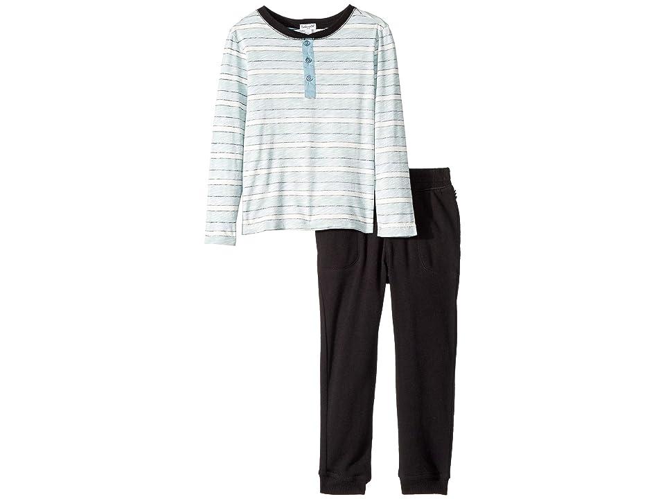 Splendid Littles Reverse Stripe Long Sleeve Set (Little Kids/Big Kids) (Black) Boy