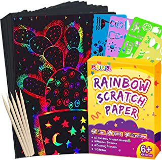 Pigipigi Scratch Paper Art for Kids - 59 Pcs Magic Rainbow Scratch Paper Off Set Scratch Crafts Arts Supplies Kits Pads Sheets Boards for Party Games Christmas Birthday Gift