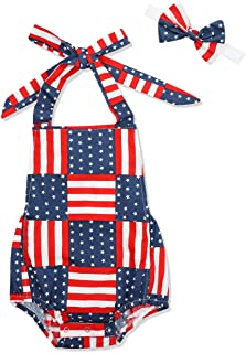 Agapeng Baby Girl 4th of July Ruffled Rompers Sleeveless Bodysuit Jumpsuit