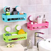 FASTUNBOX (LABEL) Fashion Plastic Inter Design Bathroom Kitchen Organize Shelf Rack Basket with Wall Mounted Suction Cup