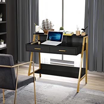 """Modern Writing Desk with Hutch - 39"""" x 19"""" Workstation Computer Work Study Table for Home Office Furniture Vanity Make Up Desk, 3 Tier Storage Shelf and 2 Drawers (Black/Gold)"""