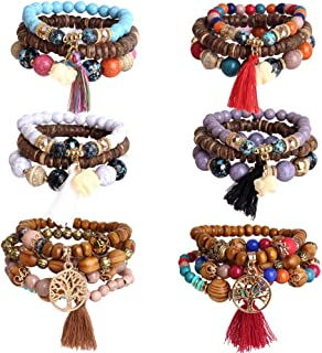 6 Sets Bohemian Beaded Bracelets Set for Women Multilayer...