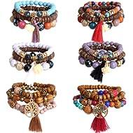 Hicdaw 6 Sets Bohemian Beaded Bracelets Set for Women Multilayer Tassel Bracelet Set Gifts for...