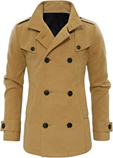 TAM WARE Mens Stylish Fashion Classic Wool Double Breasted Pea Coat