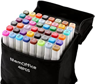 Memoffice 48-Color Dual Tips Alcohol Markers, Sketch Markers Set for Kids Adults Artists, Alcohol Based Markers with Carrying Case for Anime Design, Painting, Highlighting, Great Christmas Gift Idea