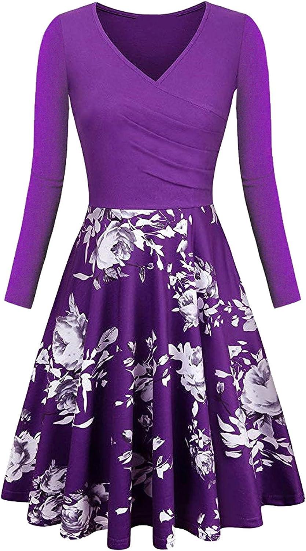 Shaloly Women's Elegant Autumn Floral Print A-Line Long Sleeve V-Neck Dress