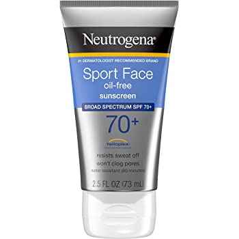 Neutrogena Sport Face Sunscreen, Oil-Free Sunscreen Lotion with Broad Spectrum UVA/UVB SPF 70+ Protection, Sweat-Resistant & Water-Resistant Active Sport Sunscreen, 2.5 fl. oz