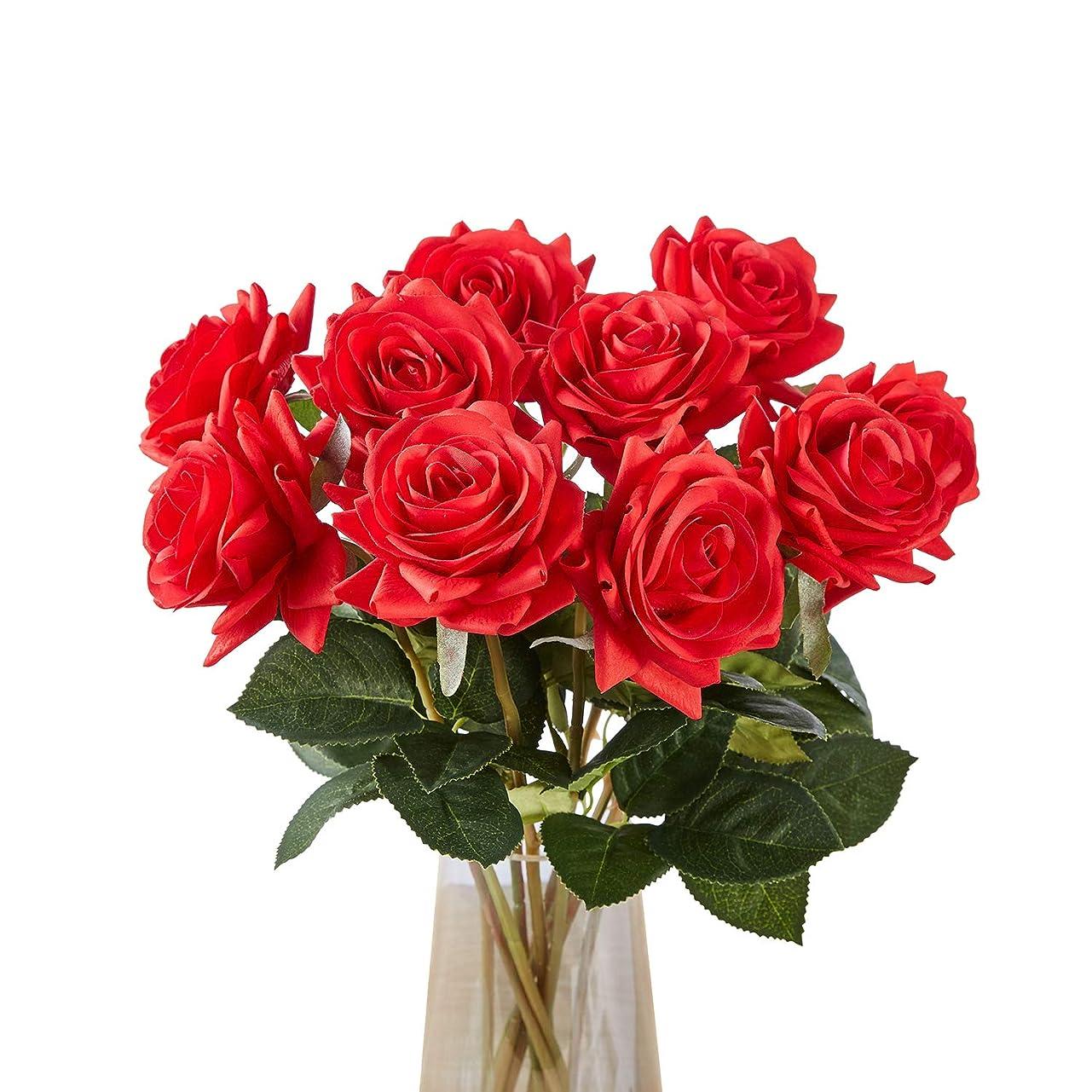 安息昇進うつ造花 バラ ローズ 薔薇 アレンジ 10本セット 結婚式 パーティー 様々な イベント 手作り レッド