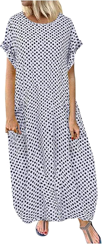 AIHOU Women Boho Vintage Polka Dot Plus Size Short Sleeve Long Maxi Dress Party Beach Casual Summer Sundress Tunic Dress