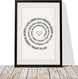 Bright Eyes 'First Day of My Life' Song Lyrics Framed Print with Mount - 12x10 Inch - His Her Gift for Valentines Day Wedding Anniversary Birthday