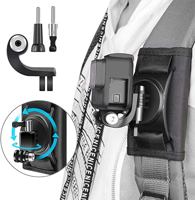 LIBRNTY Mochila - Soporte de Correa de Hombro para cámaraMontaje con 360 Grados de rotación AjustableAjustable Hombrera y J-Hook para GoPro Hero 2018/7/6/5/4/3SessionXiaomi YI 4K/LiteSJCAM